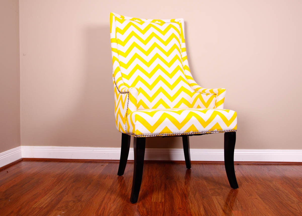 Yellow Chevron Contemporary Swoop Armchair ...