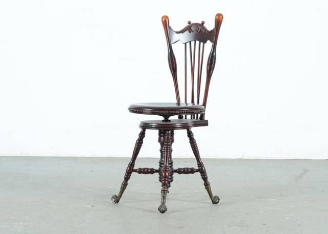 Antique Charles Parker Company Walnut Highback Piano Stool
