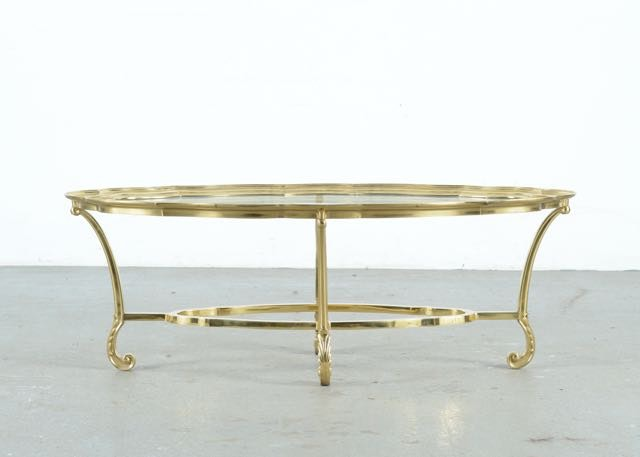 Charmant LaBarge Glass And Brass Coffee Table ...