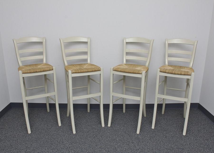 Set Of Four Rush Seat Bar Stools Ebth