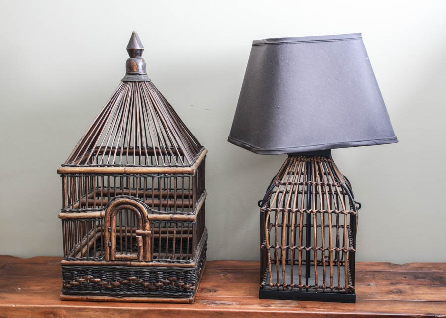 Bamboo style table lamp and birdcage