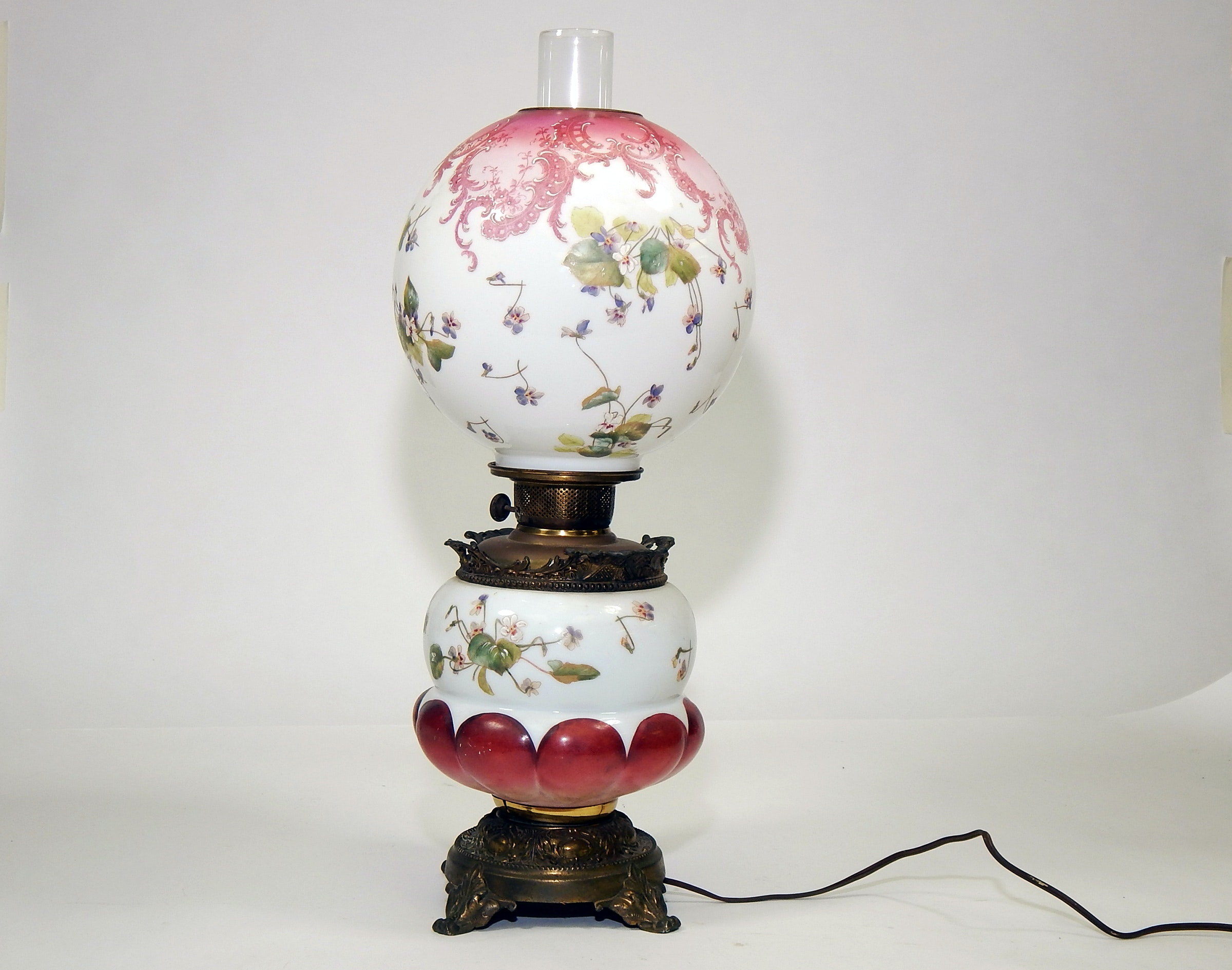 Antique Hand Painted Oil Hurricane Lamp Converted To Electric
