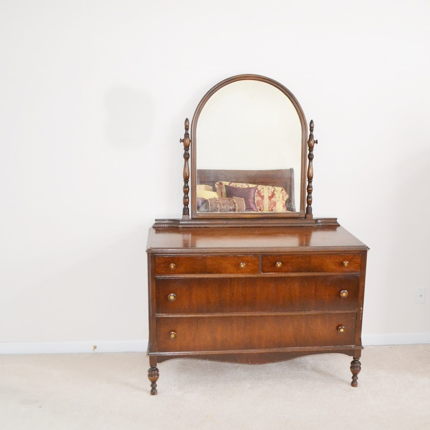 Circa 1920s Showers Brothers Dresser With Attached Mirror : EBTH