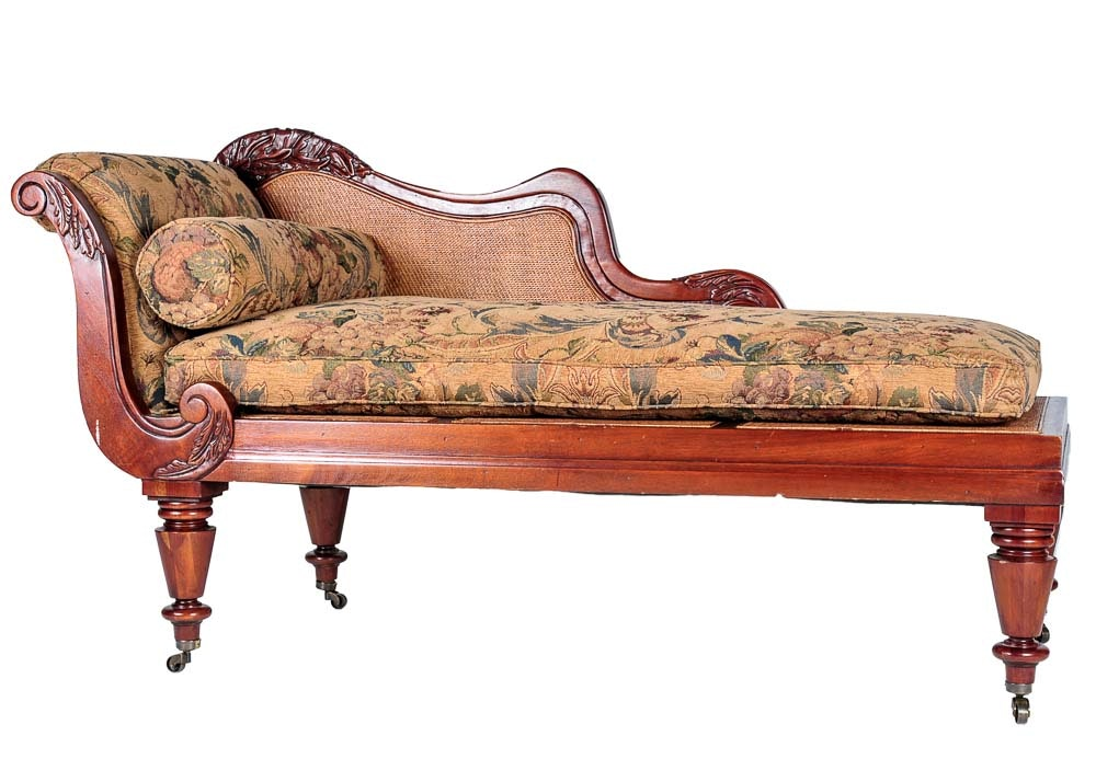 Vintage Woven Reed Chaise Lounge Chair