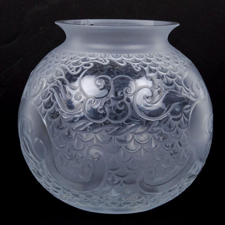 Lalique Crystal Xian Vase Globe Ebth