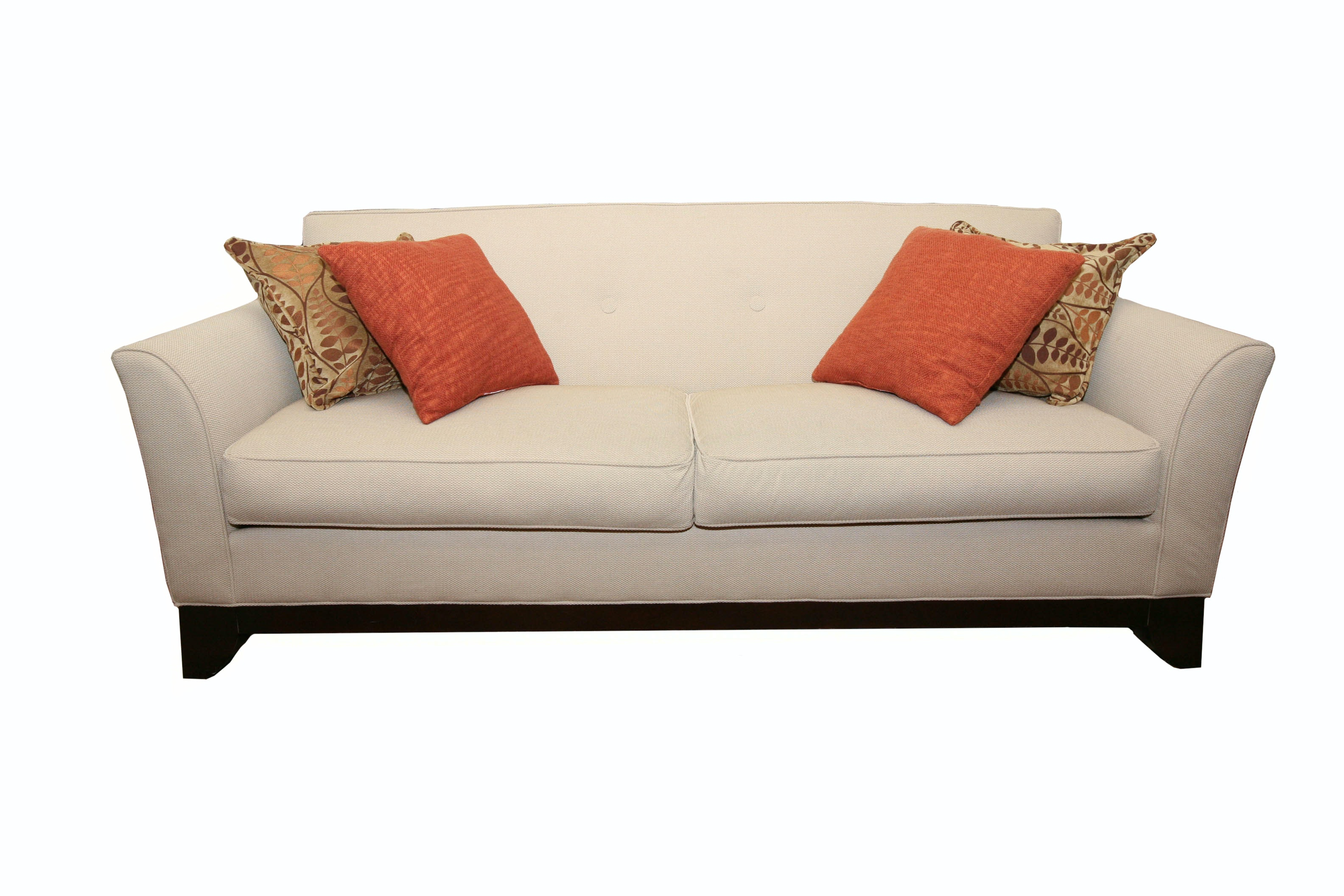 Charming Fabric Sofa By Rowe Furniture With Pillows And Throw