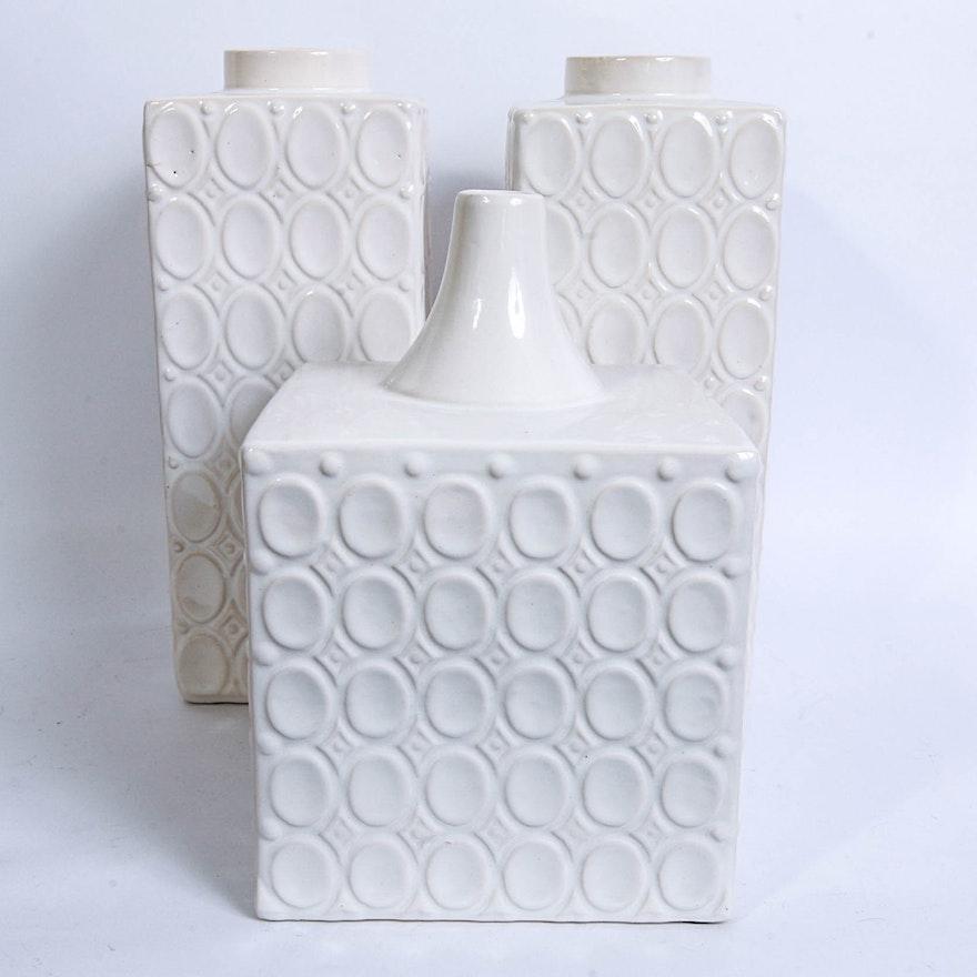 Trio Of White Square Vases Ebth
