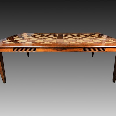 Art Deco Inspired Wood Dining Table - Online Furniture Auctions Vintage Furniture Auction Antique