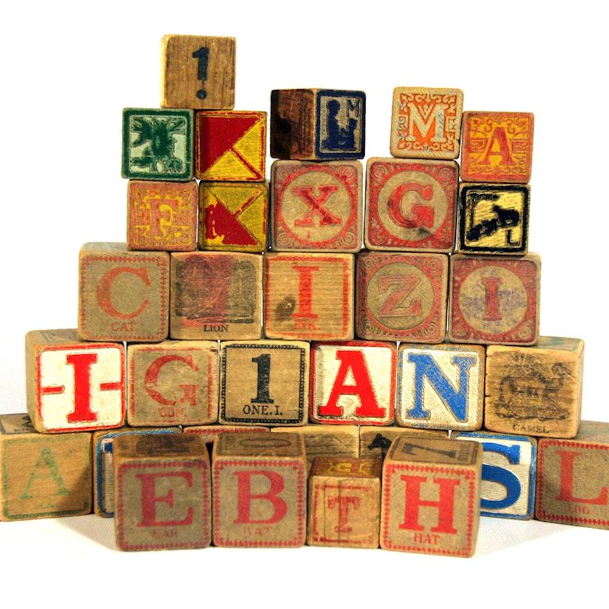 vintage wooden letter blocks