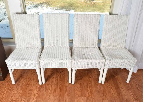 Four white wicker parsons style chairs ebth for What is a parsons chair style