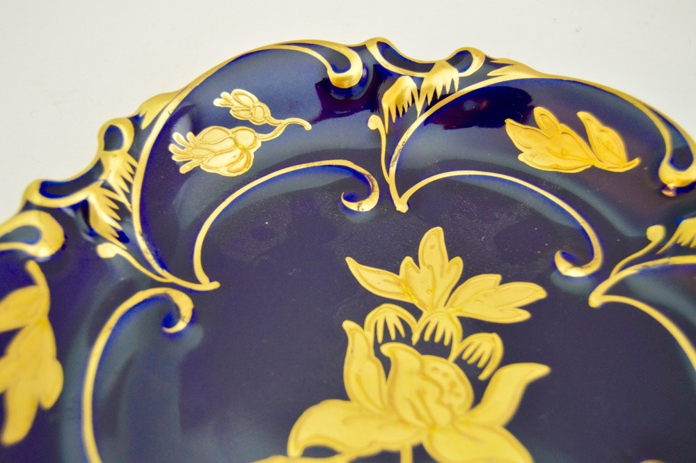 Buds Auto Sales >> JLMenau Cobalt Blue Porcelain Plate | EBTH
