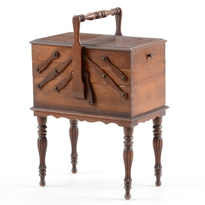 Vintage Walnut Accordion Sewing Chest - Furniture Auctions Online Antique Furniture Auctions In Cincinnati