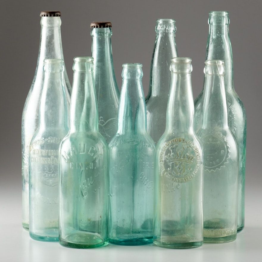 Collection of Cincinnati-Related Clear Glass Beer Bottles