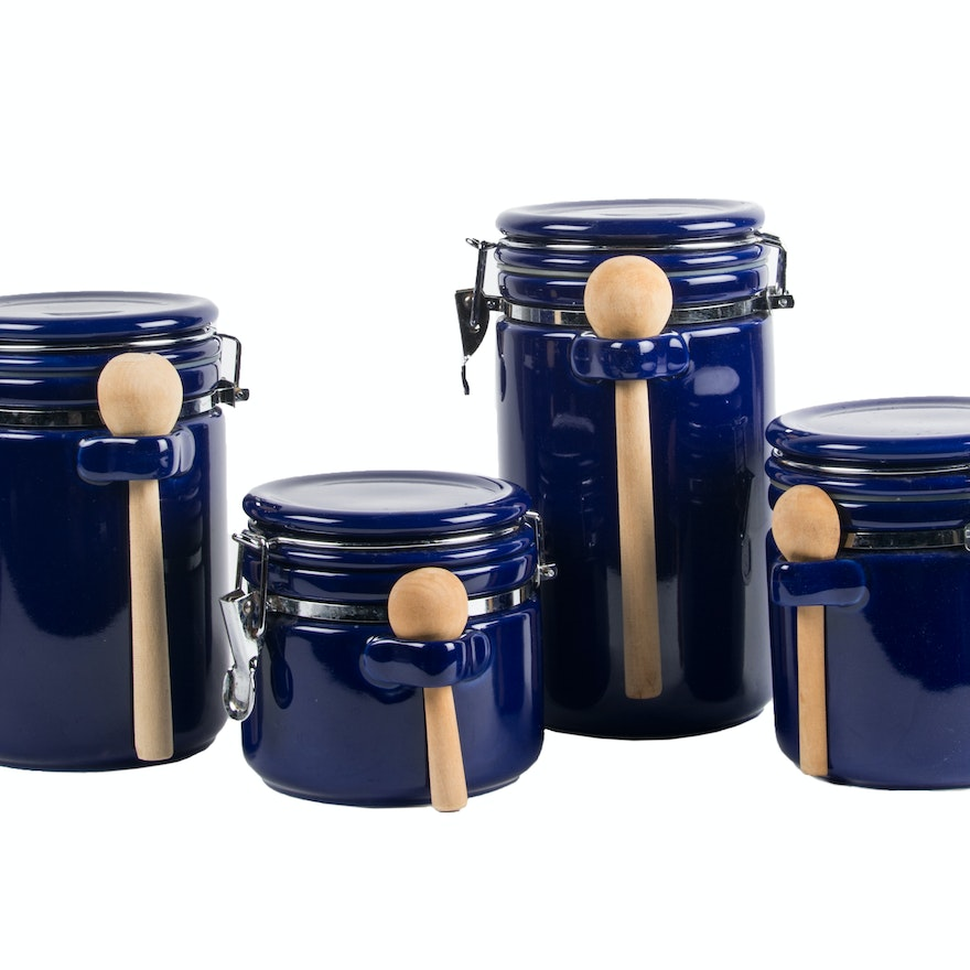 cobalt blue kitchen canisters cobalt blue ceramic canister set with wooden scoops ebth 8941