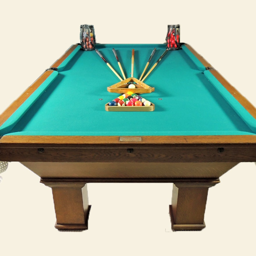 Antique Oak Brunswick Snooker Billiards Table And Accessories EBTH - Brunswick oak pool table