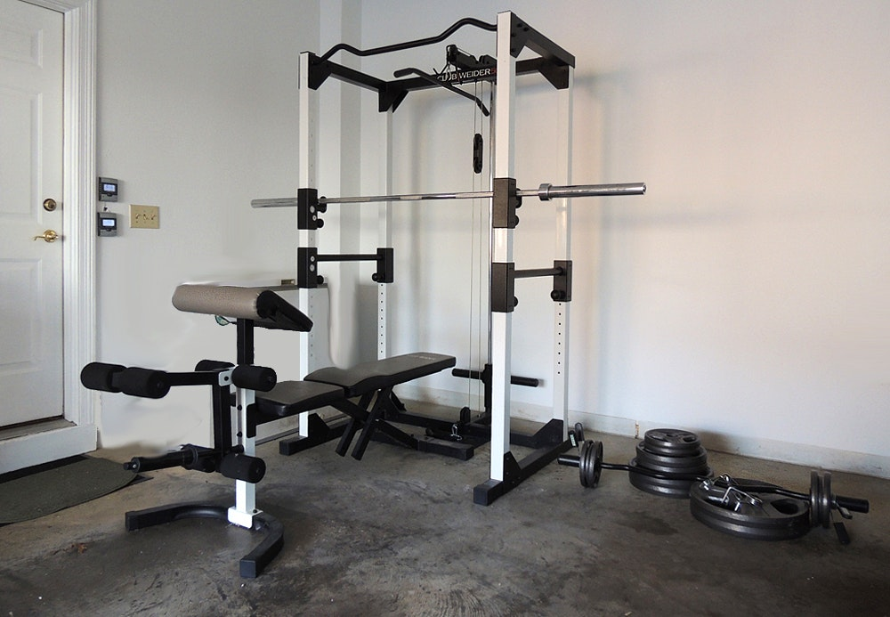 Club Weider 565 Home Gym With Weights And Bench Ebth