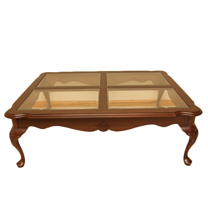 Ethan Allen Tuscan Coffee Table: Ethan Allen Queen Anne Glass Top Coffee Table