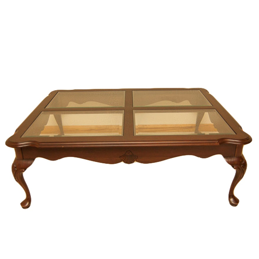 Glass Coffee Table Ethan Allen: Ethan Allen Queen Anne Glass Top Coffee Table