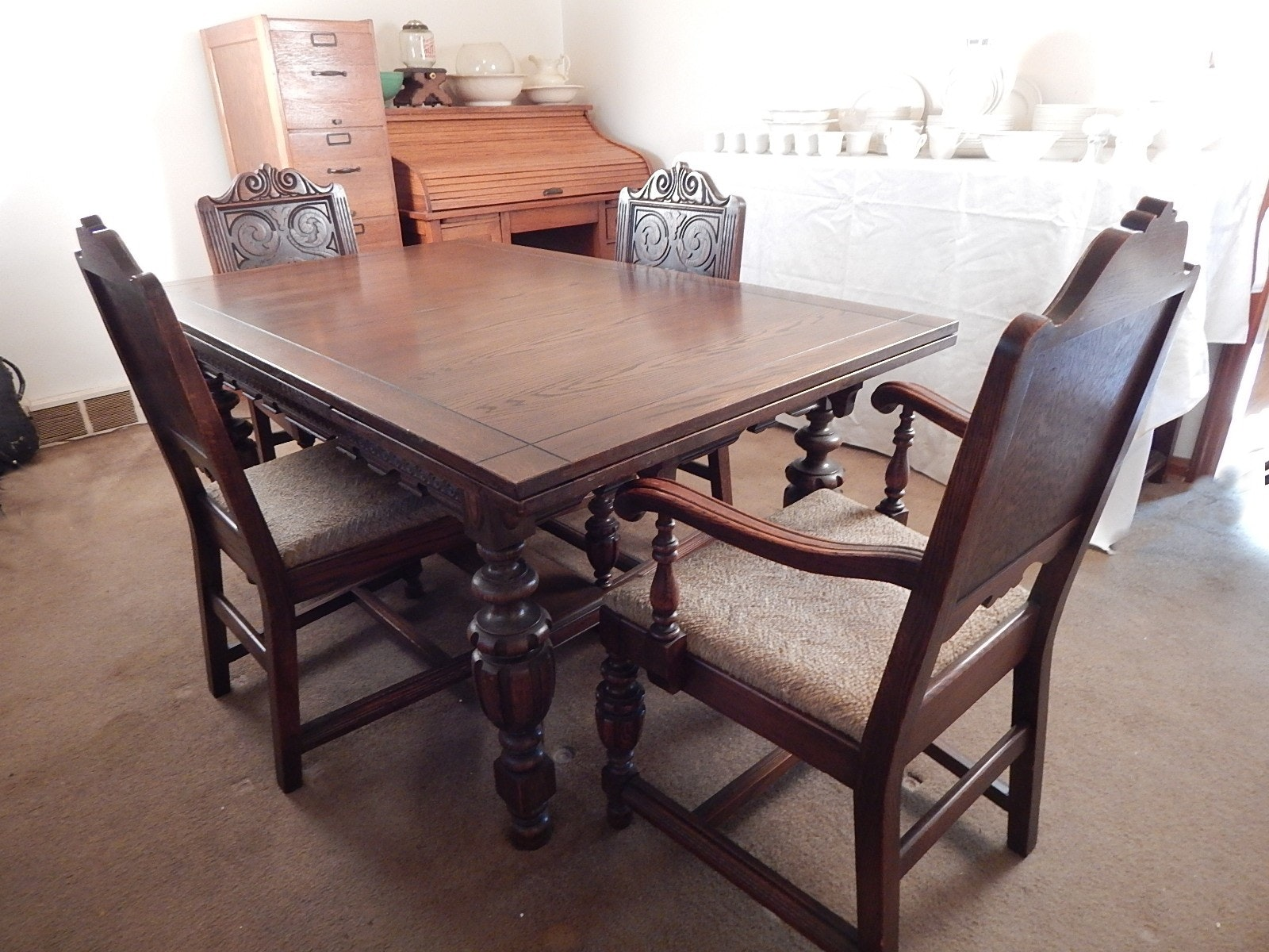1930's jacobean revival carved oak table/chairs : ebth
