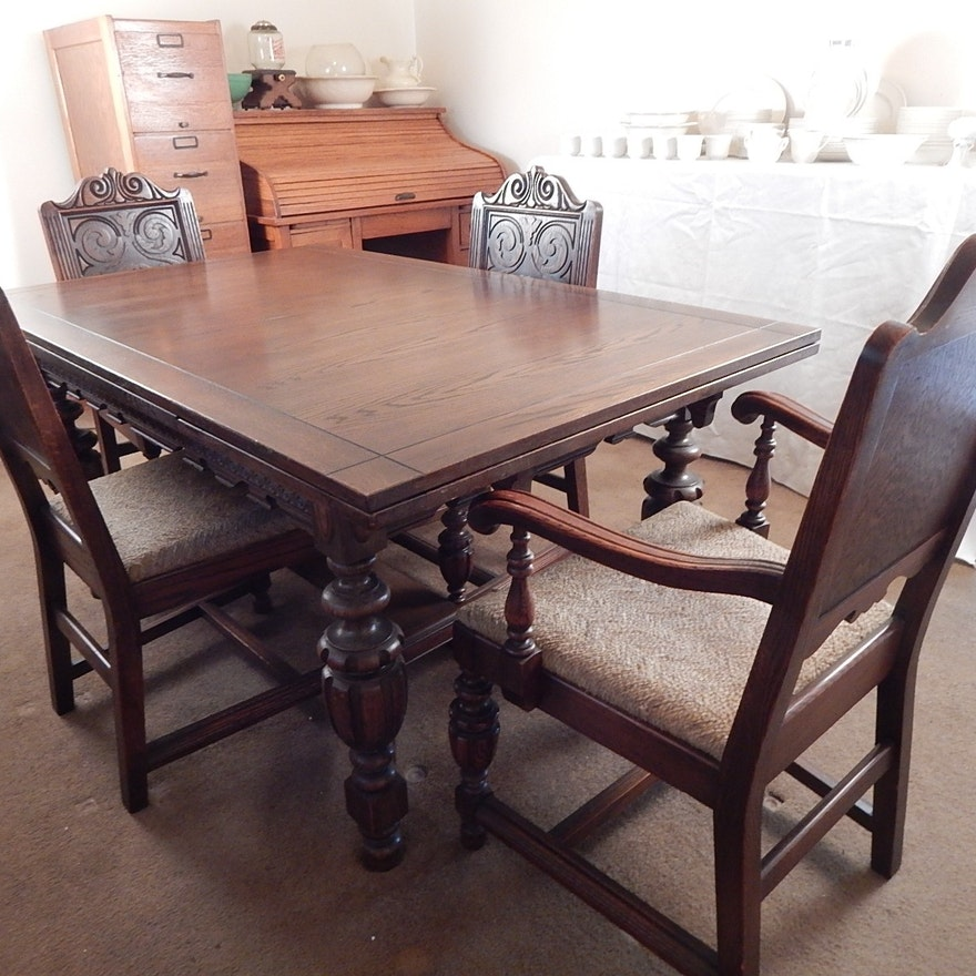 1930 S Jacobean Revival Carved Oak Table Chairs