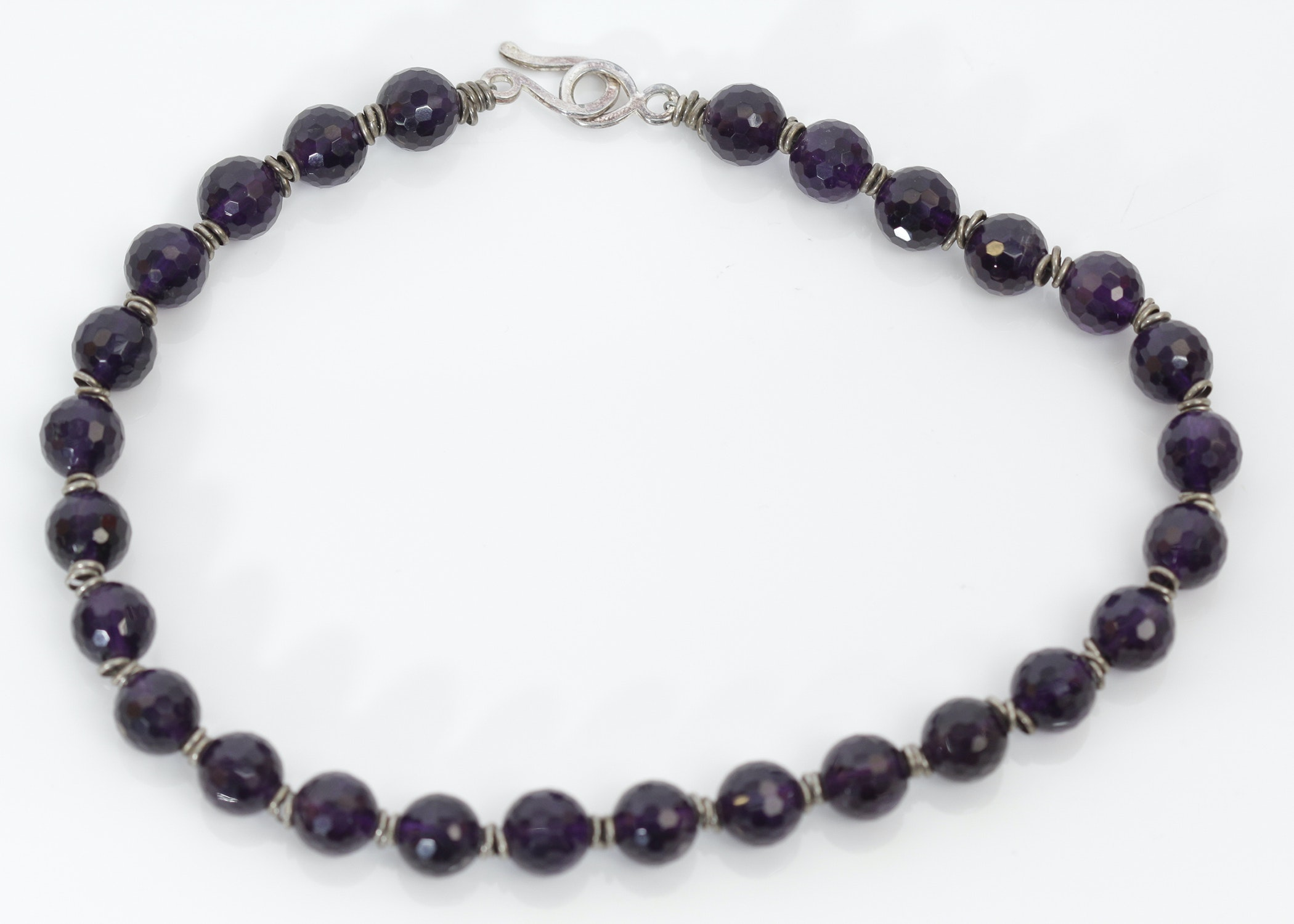 vintage sterling silver and amethyst bead necklace ebth