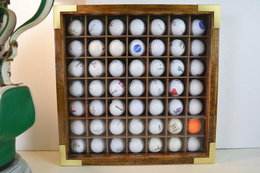 Golf Bag Table Lamp And Golf Ball Display Case Ebth