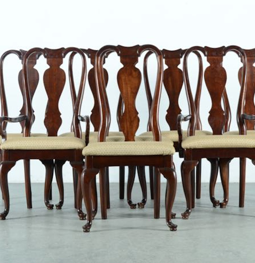 Queen Anne Dining Room Chairs: Eight Queen Anne Dining Chairs By Kincaid Furniture : EBTH