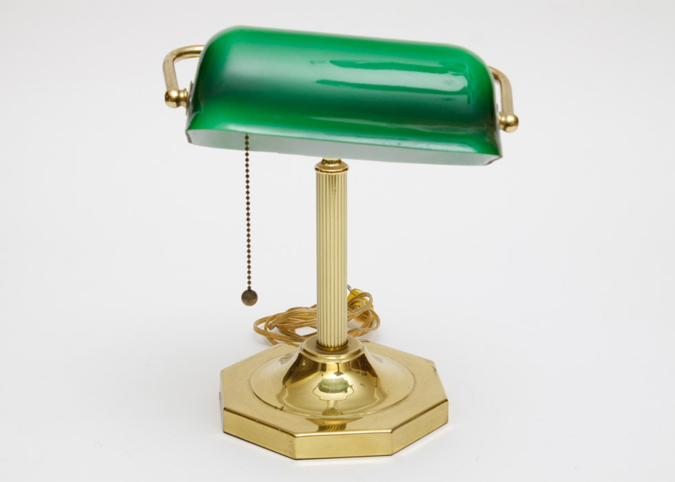 Banker Style Brass And Glass Desk Lamp Ebth