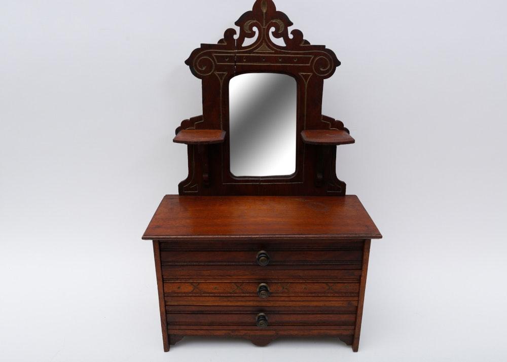 Antique Miniature Eastlake Victorian Three Drawer Chest U0026 Mirror