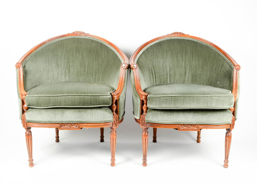 Pair Of Upholstered French Barrel Chairs