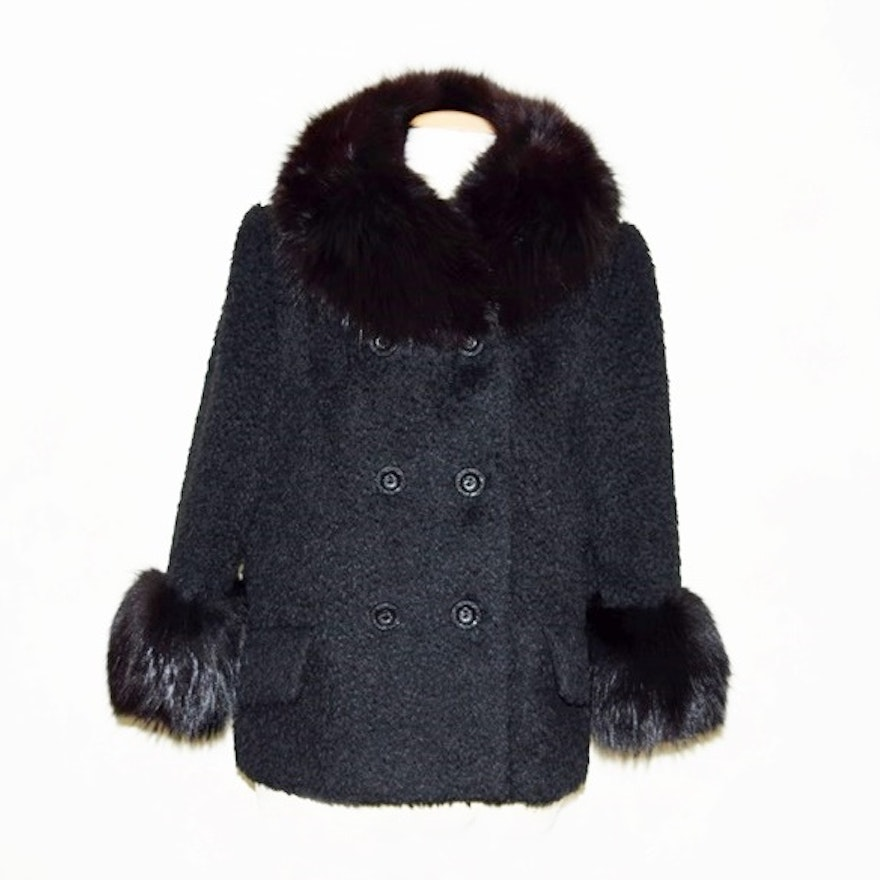2a1dc2132839 Black Vintage Ladies Jacket with Fur Collar and Cuffs   EBTH