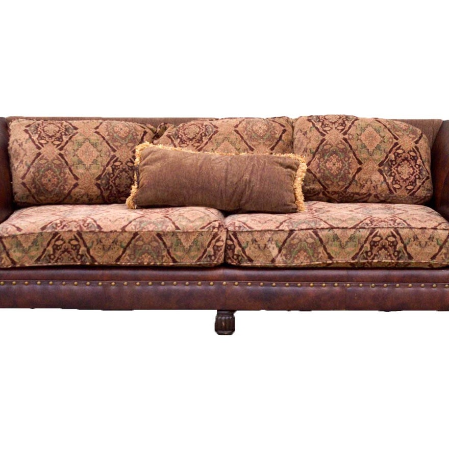 Leather And Tapestry Sofa Five Cushion Leather And