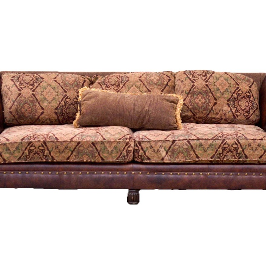 Five cushion leather and tapestry sofa by bernhardt for Bernhardt furniture for sale