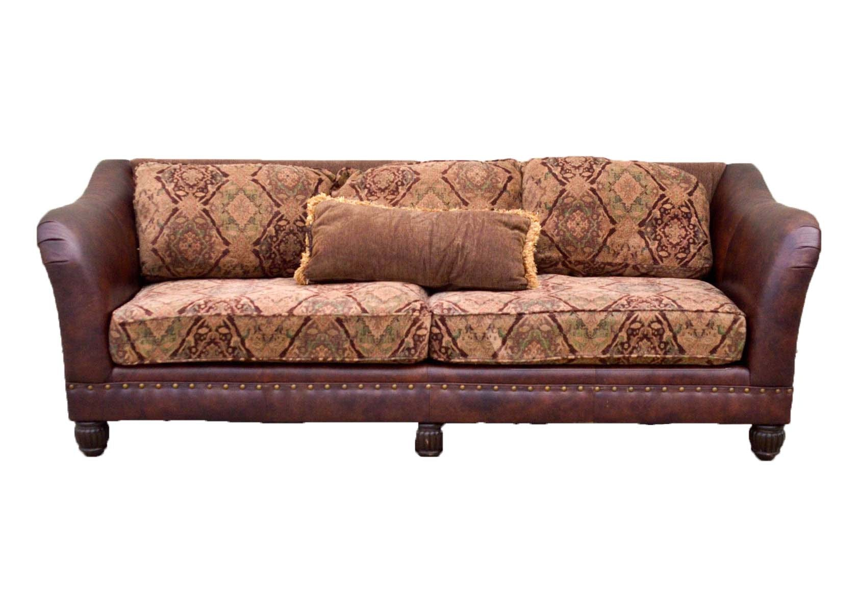 Superbe Five Cushion Leather And Tapestry Sofa By Bernhardt Furniture ...