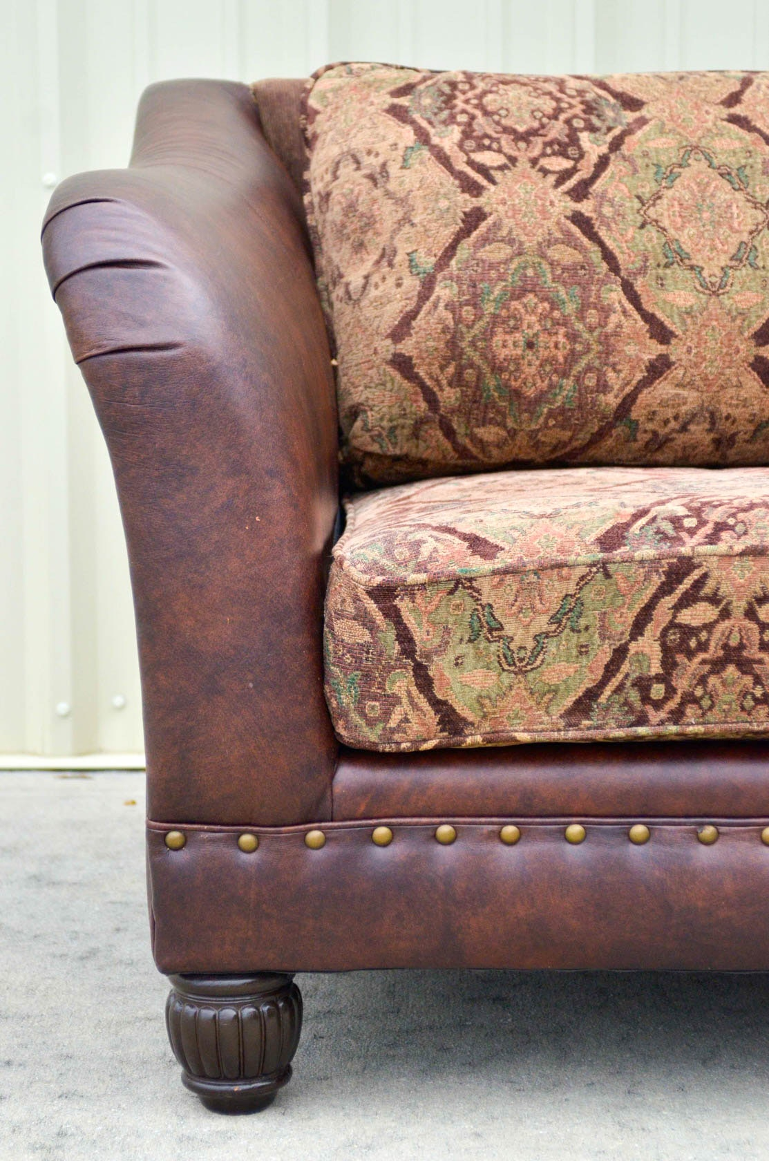 Five Cushion Leather And Tapestry Sofa By Bernhardt