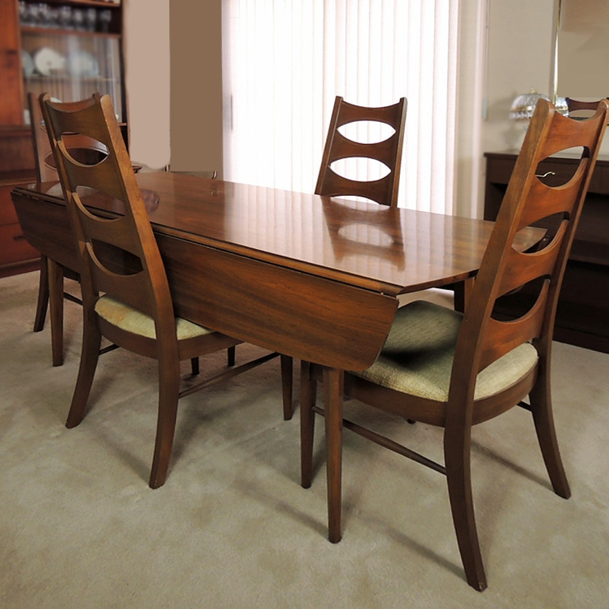 Kent Coffey Perspecta Walnut Drop Leaf Dining Table And Four Chairs Ebth