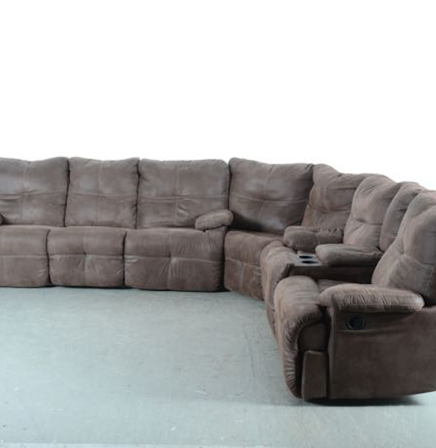 Brown Microsuede Sectional Sofa Ebth