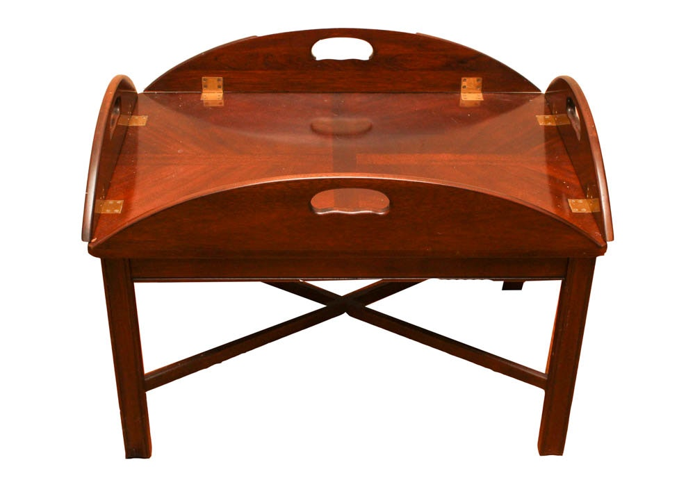 chippendale style brandt butler's tray mahogany coffee table : ebth