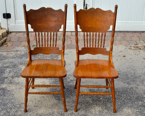 Country style oak press back dining chairs ebth