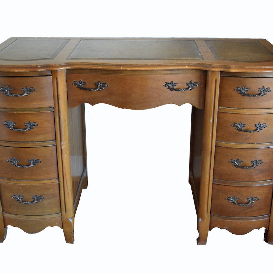 Bassett Furniture Leather Top Desk - Vintage Desks, Antique Desks And Used Desks Auction In Indian Hill