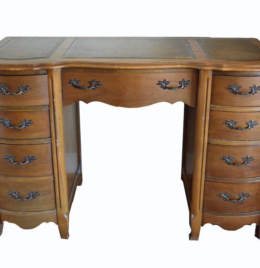 Bassett Tables: Bassett Furniture Leather Top Desk : EBTH
