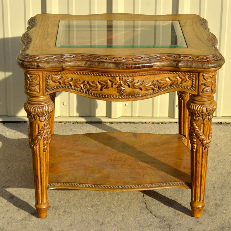 Marble And Carved Wood Accent Table: Schnadig Roman Inspired Carved Wood End Table