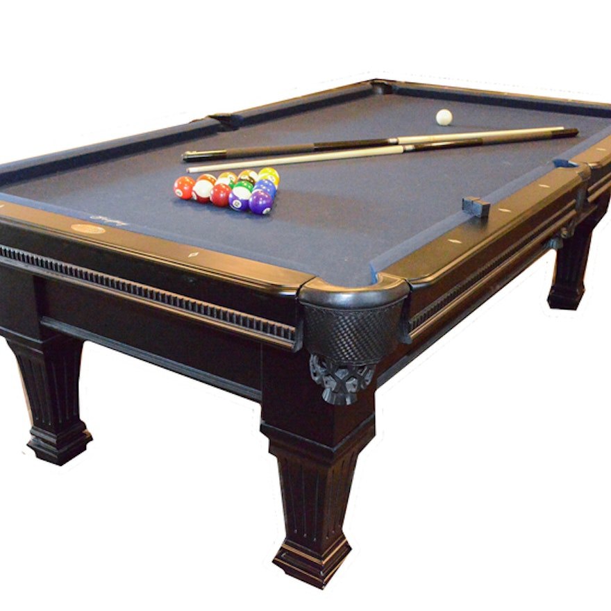 Spencer Marston Billiard Table And Multiple Accessories Ebth