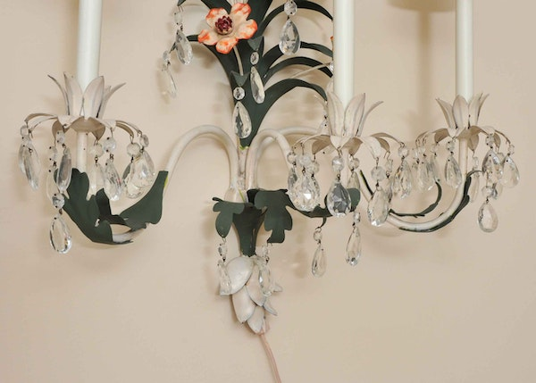 Pair Electric Wall Sconces : Pair of Painted Metal Electric Wall Sconces : EBTH