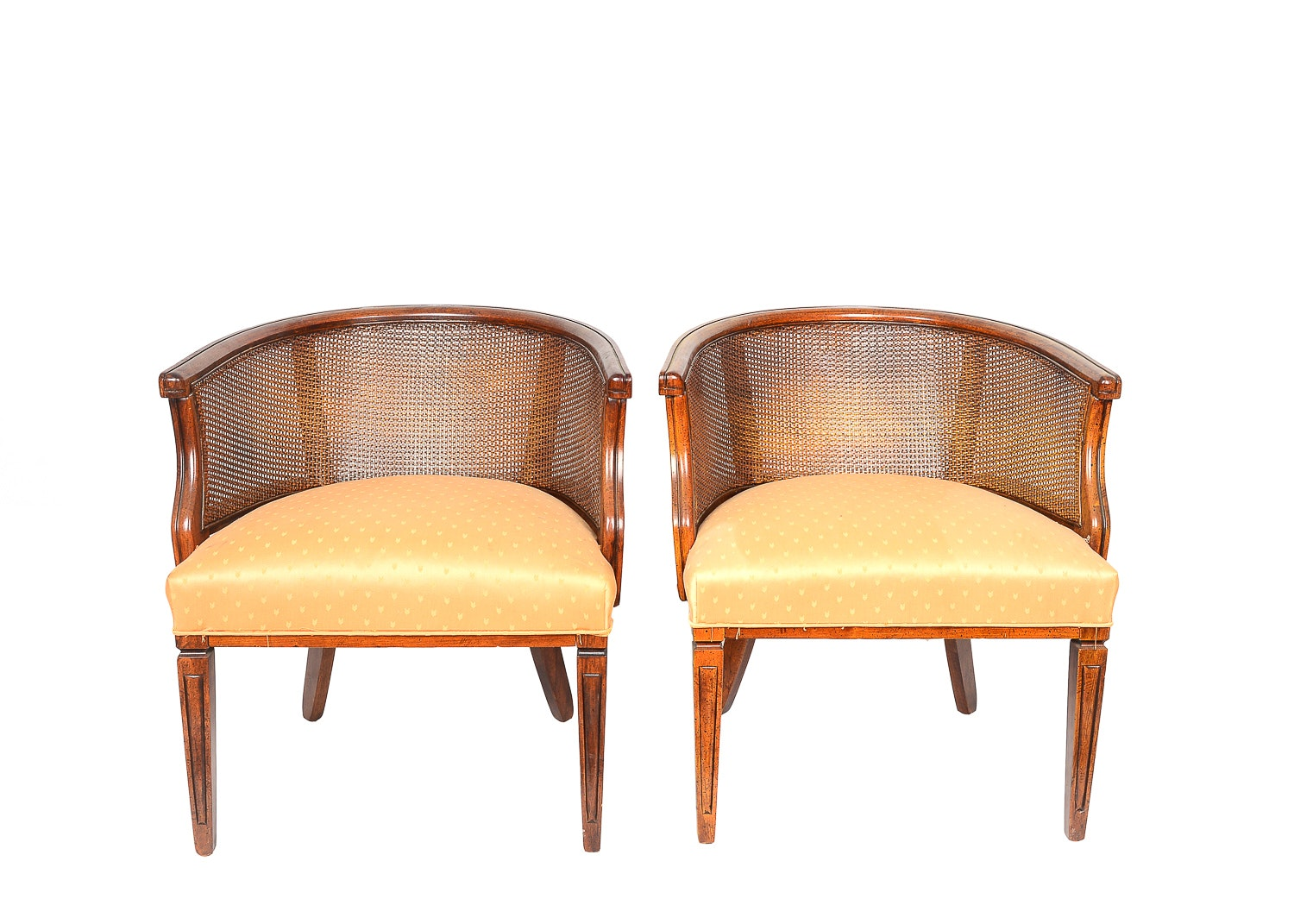 Two Cane Back Barrel Chairs ...