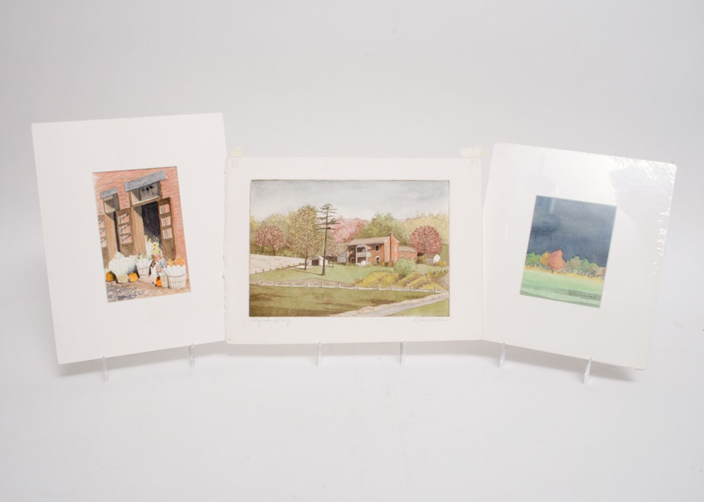 Trio Of Signed B J Anderson Etching And Watercolor Works