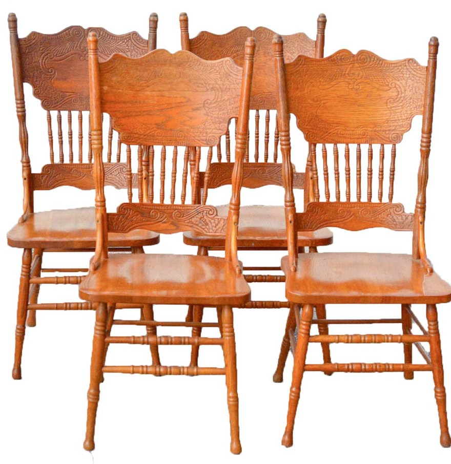 Dining Tables Country Style: Country Style Oak Press Back Dining Chairs : EBTH