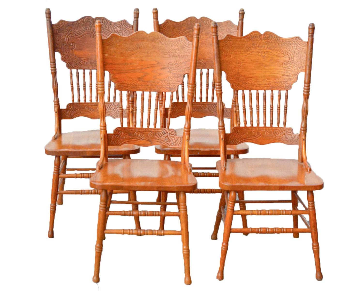 Country Style Oak Press Back Dining Chairs ...