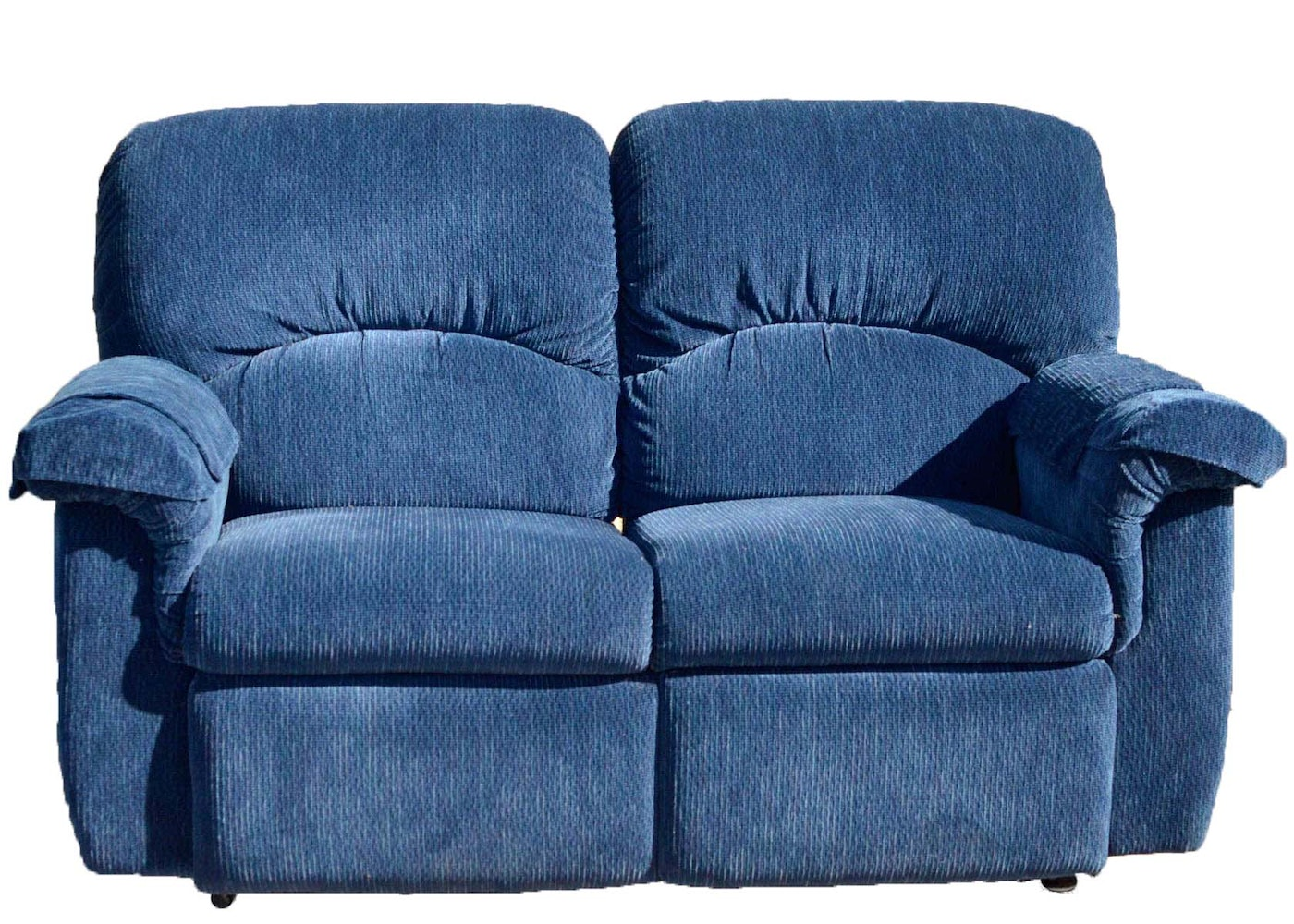 La Z Boy Loveseat Recliner In Blue Velour Ebth