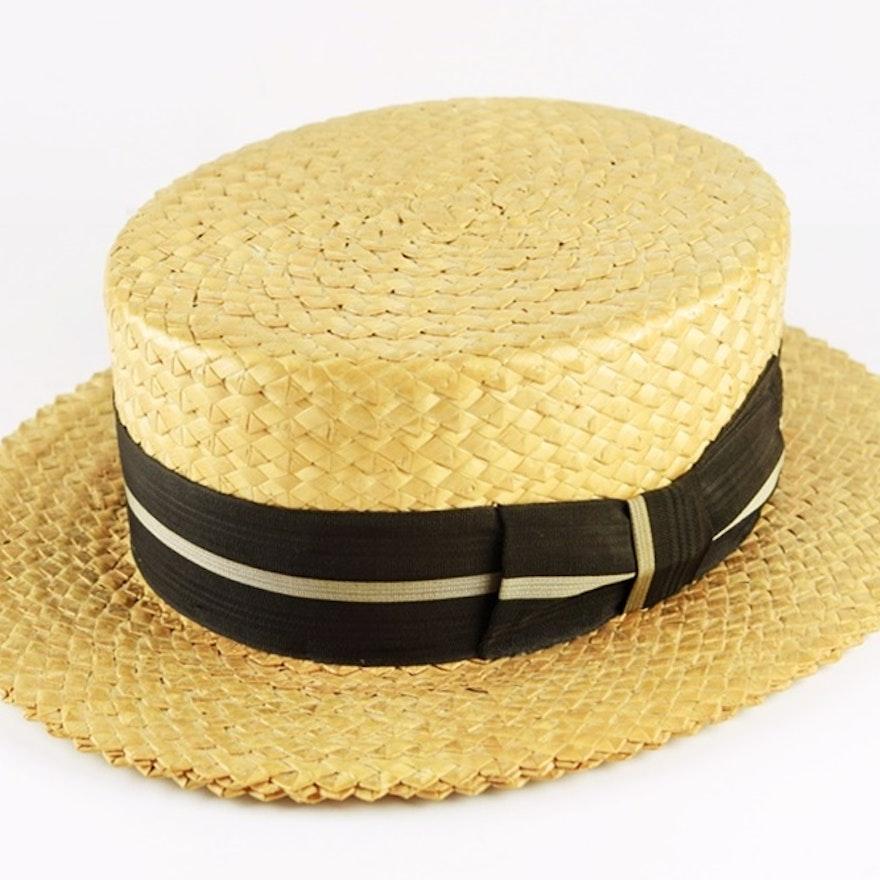 e8fa91fae6b Vintage 1920 s Italian Sarnoff-Irving Mens Straw Boater Hat   EBTH